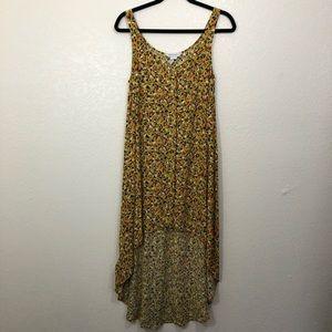 BCBGenerations high-low maxi yellow pattern dress